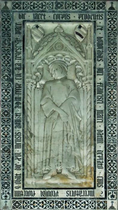 Niccolò di Piero Lamberti detto il Pela, lastra funeraria di Francesco di Marco Datini, 1411 circa, Prato, Chiesa di S. Francesco
